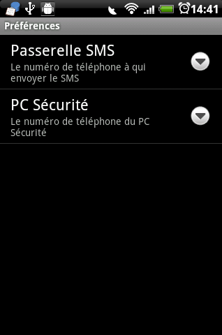 Paramètres de l'application Android